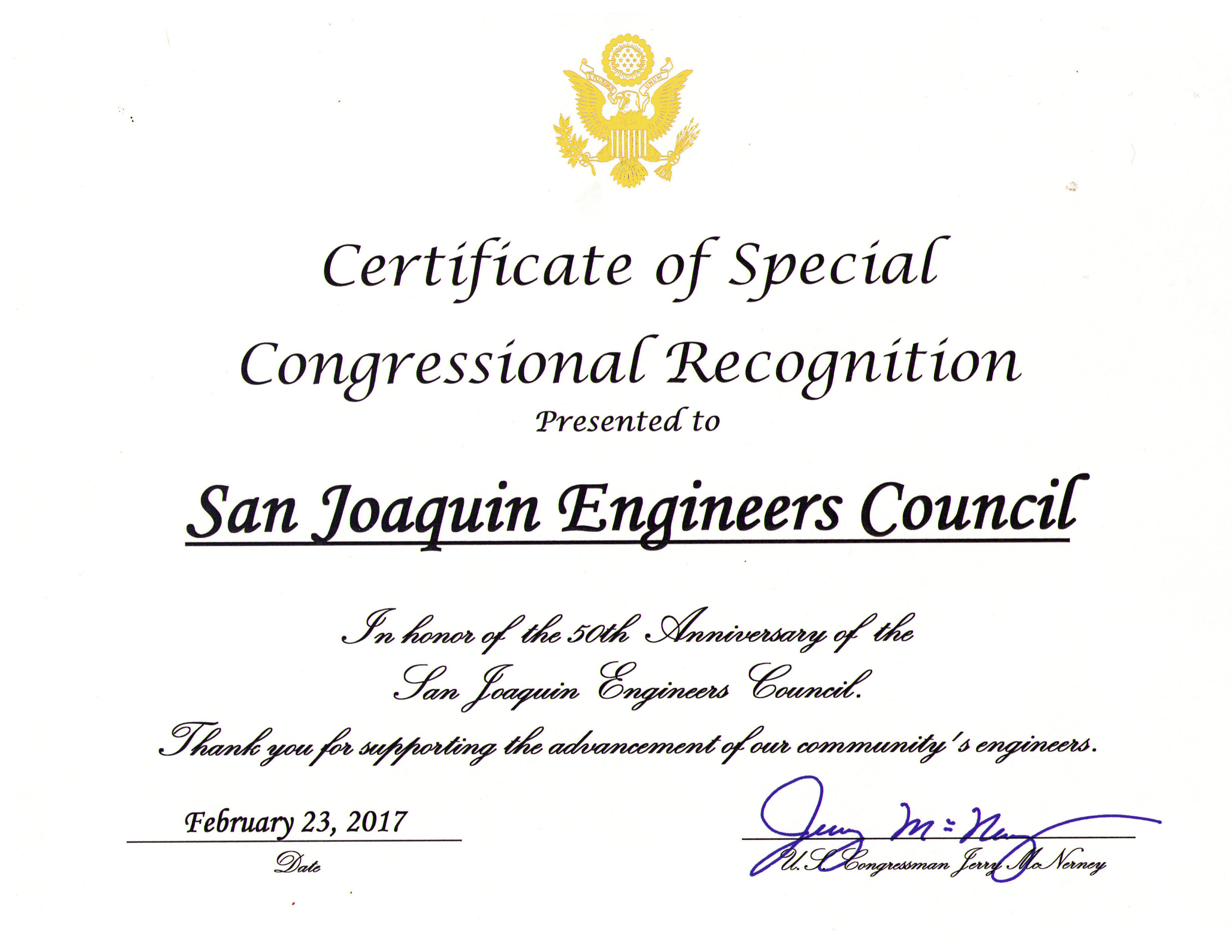 Certificate From Congress